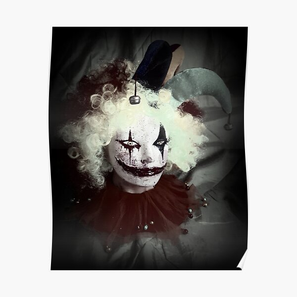 Jester Clown Horror Head ~ Lady Scream Poster