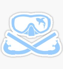Hai in diving mask with snorkel crossed Sticker