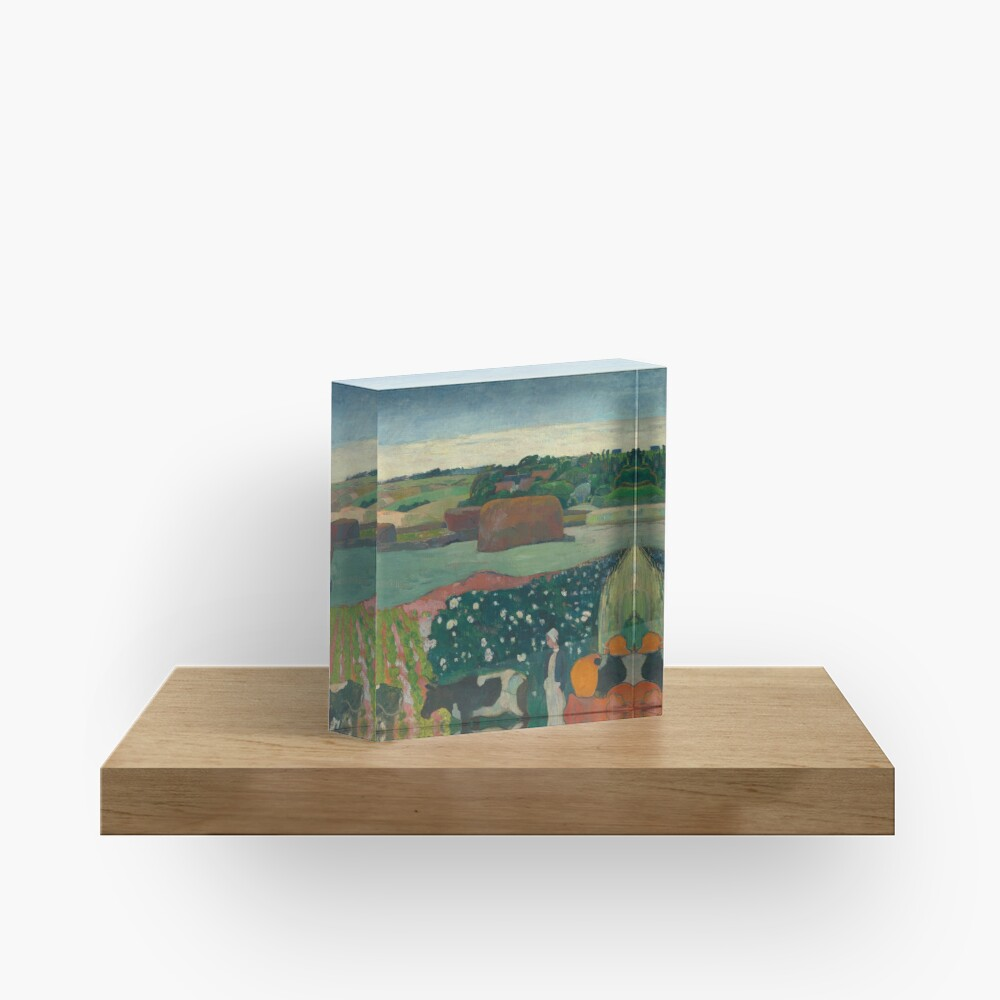 Haystacks in Brittany Oil Painting by Paul Gauguin Acrylic Block