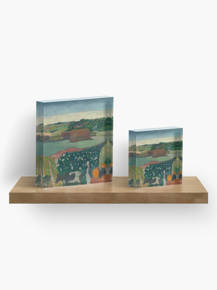 Alternate view of Haystacks in Brittany Oil Painting by Paul Gauguin Acrylic Block