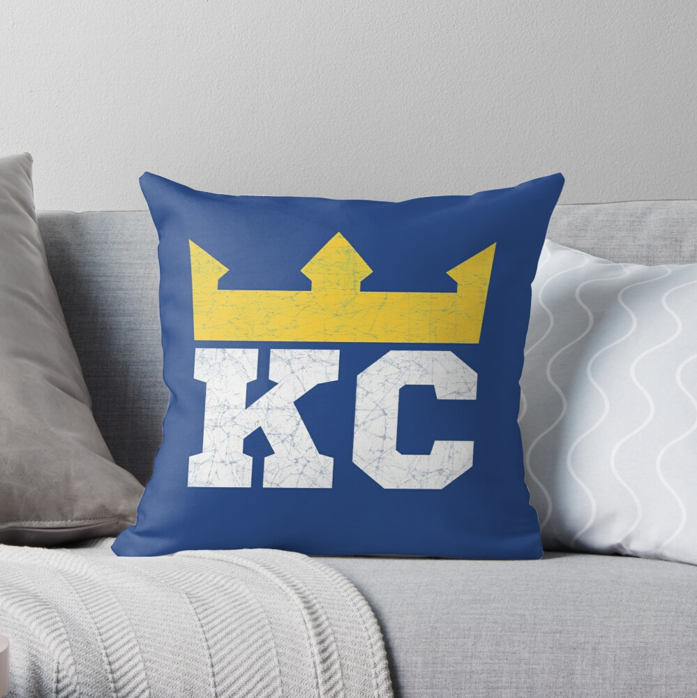 Kansas City Royal Blue KC Crown Town KC Baseball Fan Gear Kansas Citian KC Face mask Kansas City facemask Throw Pillow