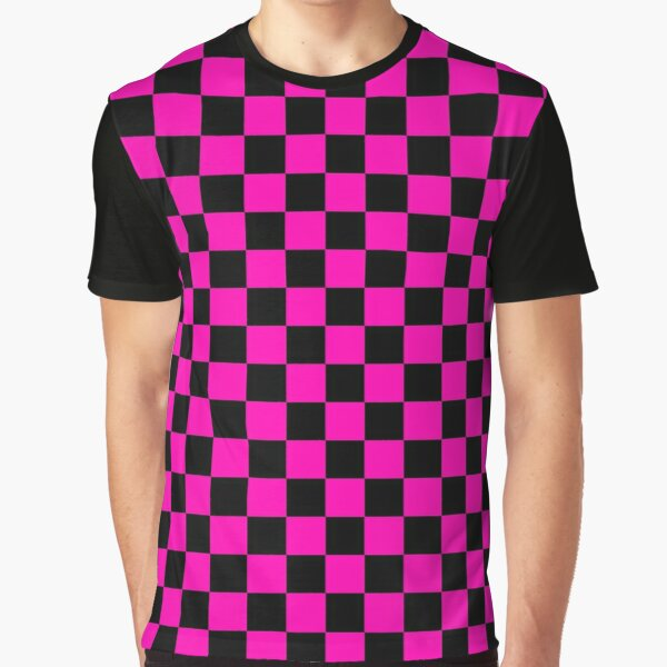 Large Hot Neon Pink and Black Racing Car Check Graphic T-Shirt