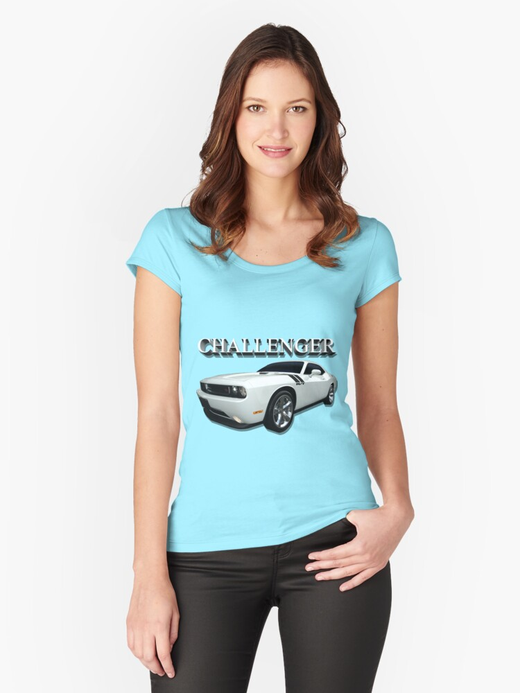 White Challenger Women's Fitted Scoop T-Shirt Front
