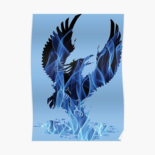 Blue Fire Phoenix Silhouette Poster