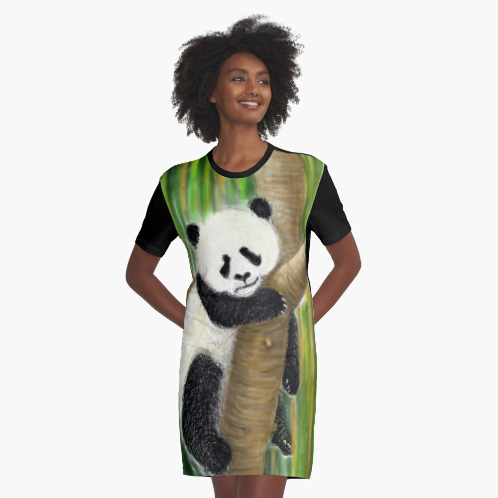 panda forest tree  Graphic T-Shirt Dress
