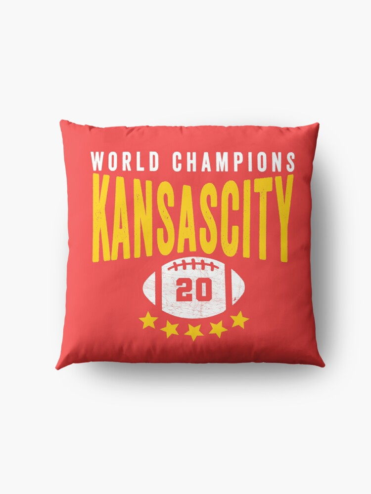 Alternate view of KC Face mask Kansas City facemask Kansas City Red KC World Champions 2020 Sports Fan Classics Floor Pillow