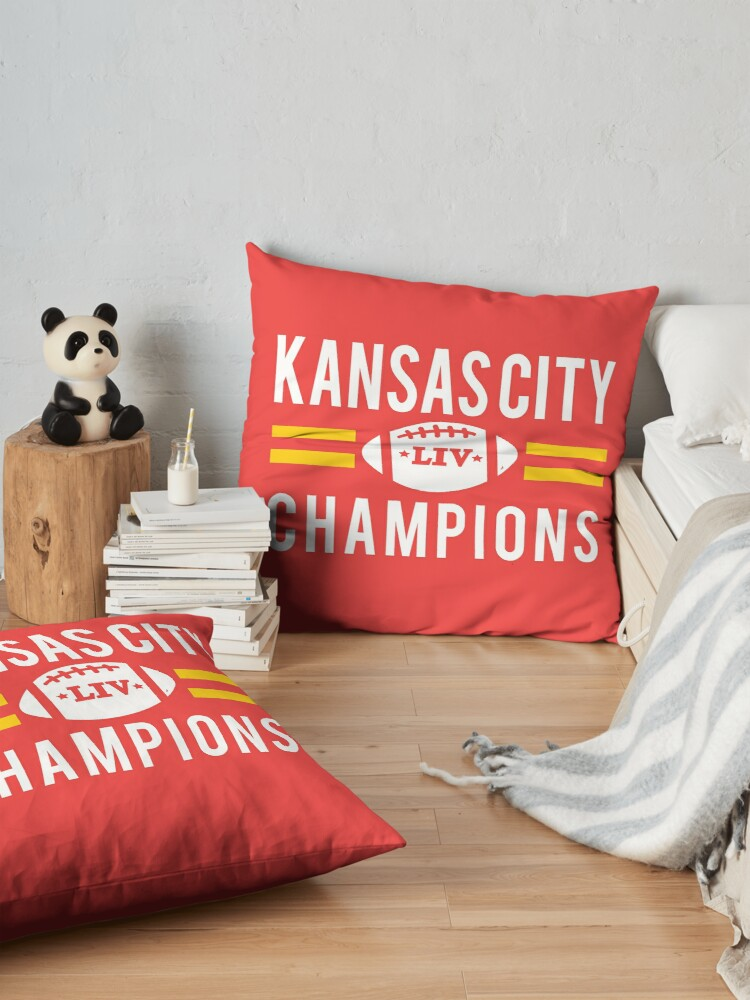 Alternate view of KC Face mask Kansas City facemask Kansas City Red KC 2020 World Champions Champs Kc Sports Fan Classics Floor Pillow
