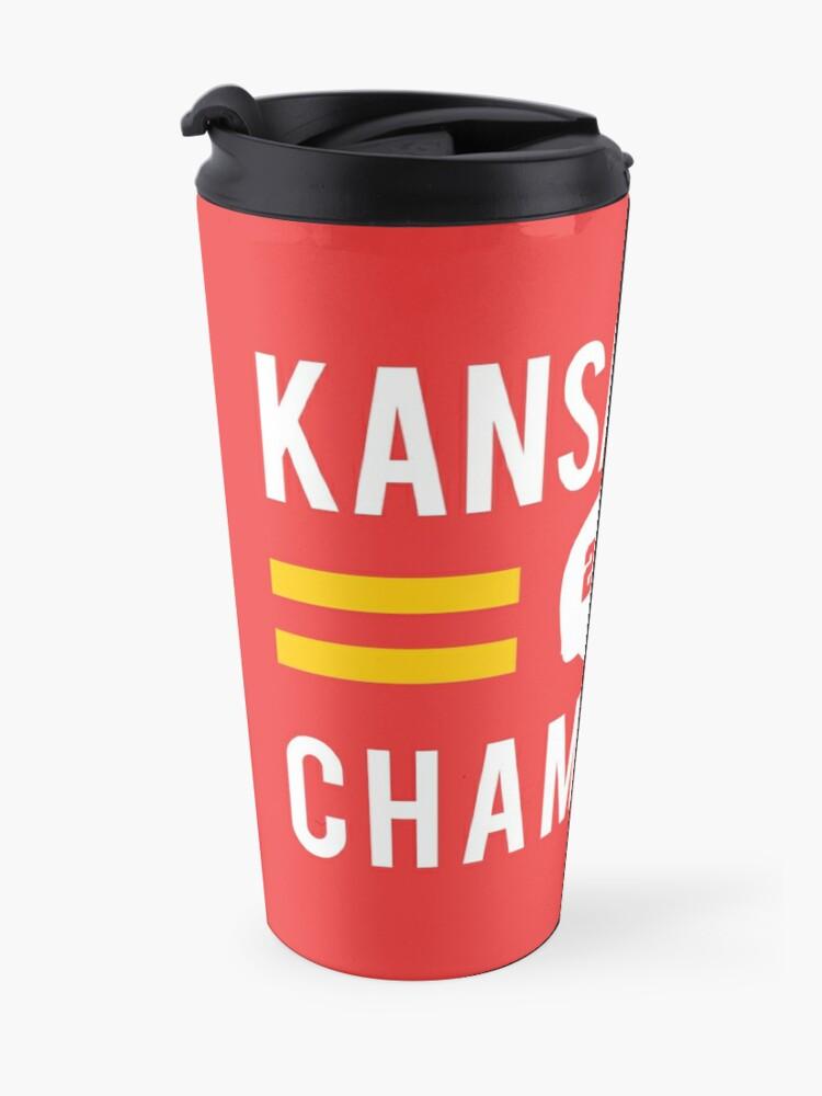 Alternate view of KC Face mask Kansas City facemask Kansas City Red KC 2020 World Champions Champs Kc Sports Fan Classics Travel Mug