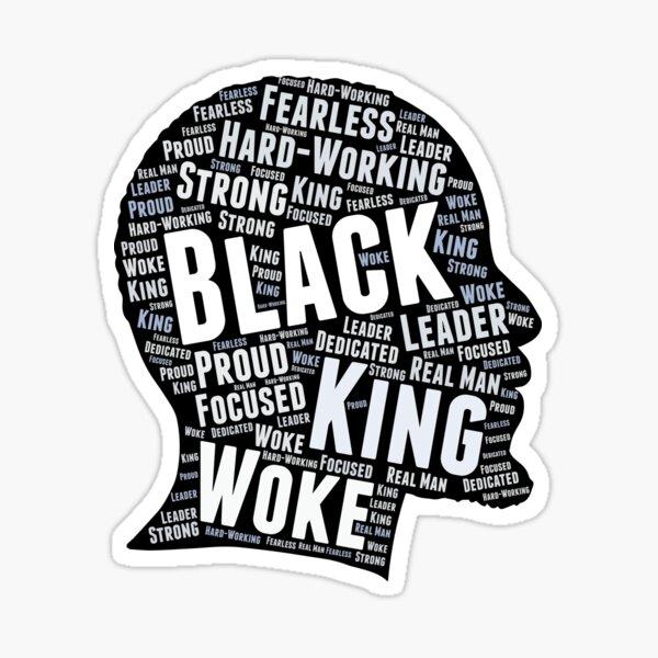 Black King African American Man Word Art Sticker