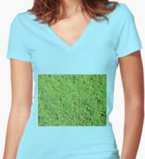 Decorative green grass Women's Fitted V-Neck T-Shirt