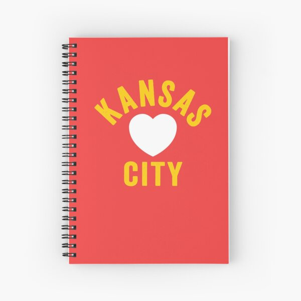 KC Mask Kansas City Heart Red Yellow KC Kingdom Kc Hearts Love Letter Football Sports Fan 2020 Classics Spiral Notebook