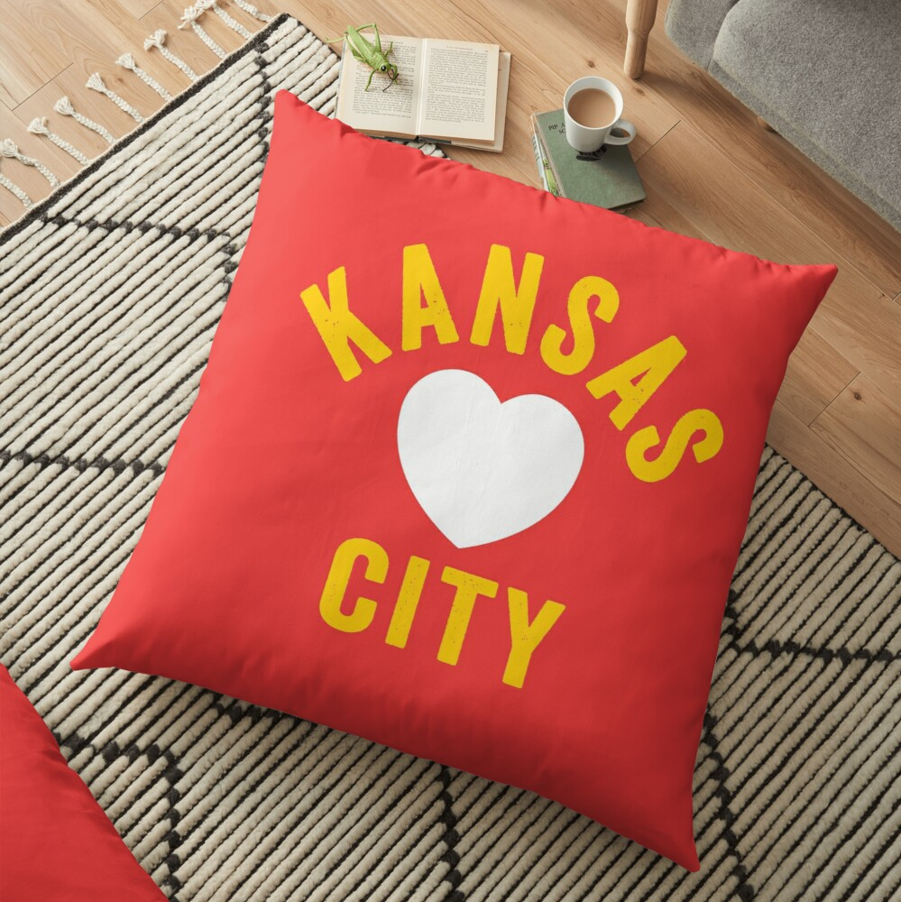 KC Mask Kansas City Heart Red Yellow KC Kingdom Kc Hearts Love Letter Football Sports Fan 2020 Classics Floor Pillow