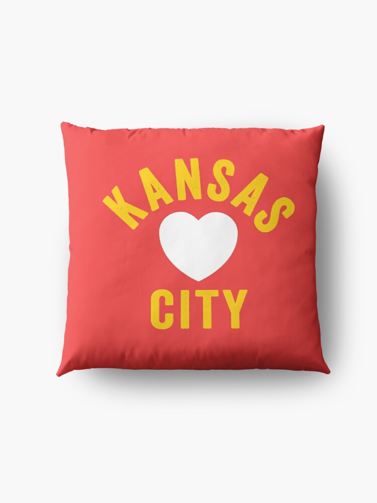 Alternate view of KC Mask Kansas City Heart Red Yellow KC Kingdom Kc Hearts Love Letter Football Sports Fan 2020 Classics Floor Pillow