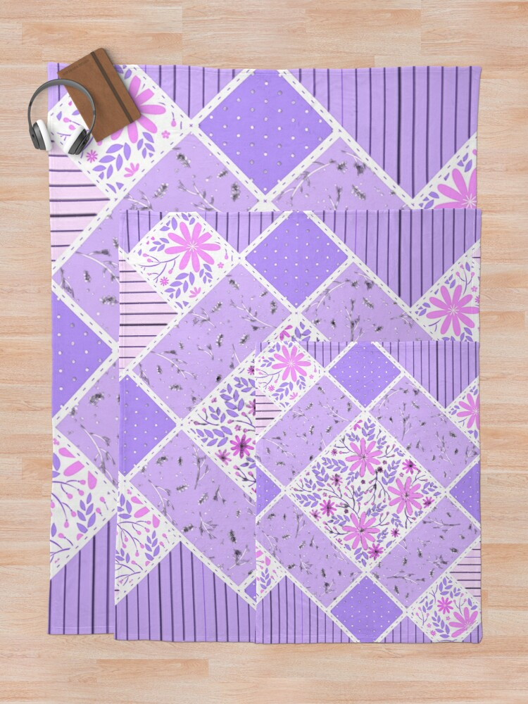 Alternate view of Distressed Lavender Patchwork Quilt Throw Blanket