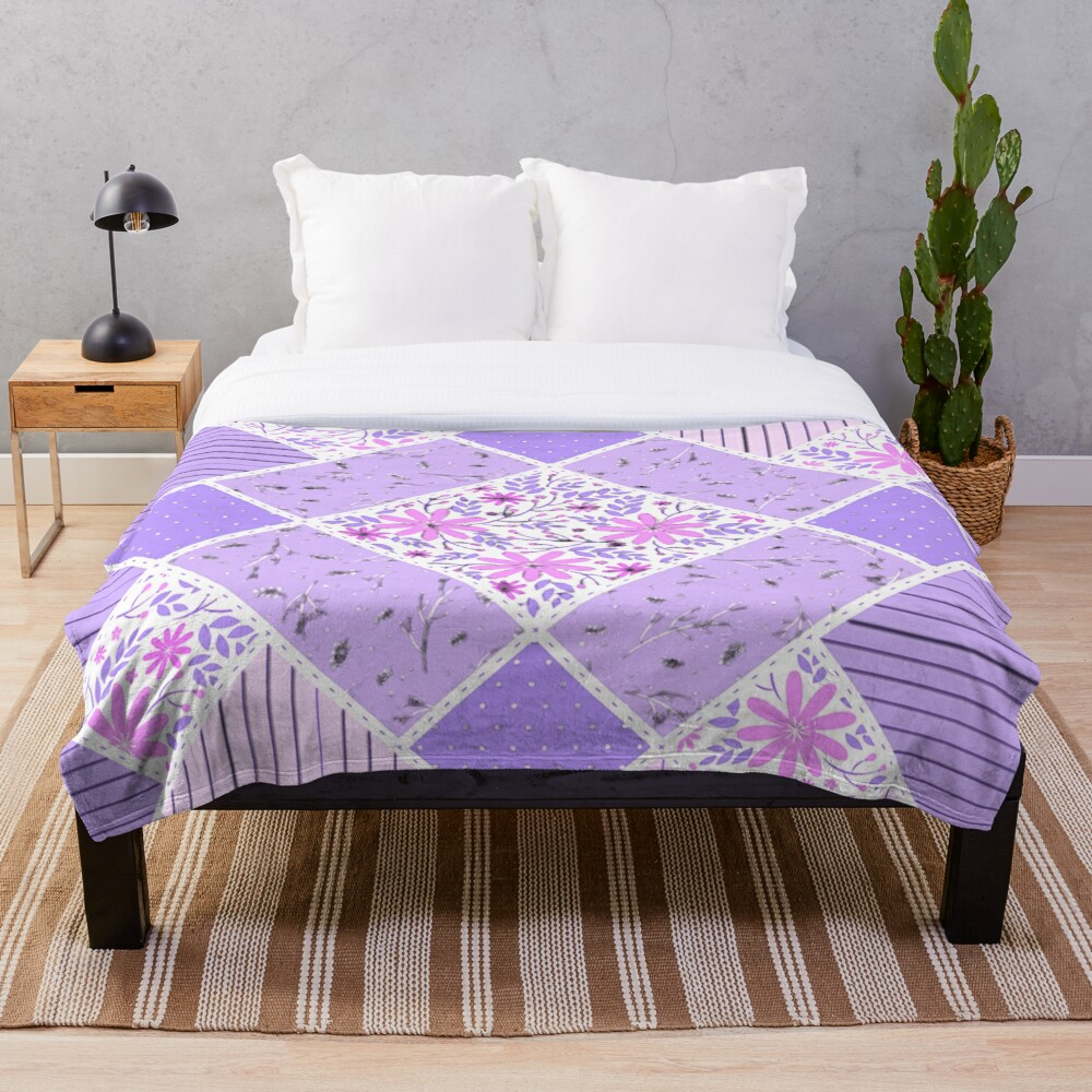 Distressed Lavender Patchwork Quilt Throw Blanket