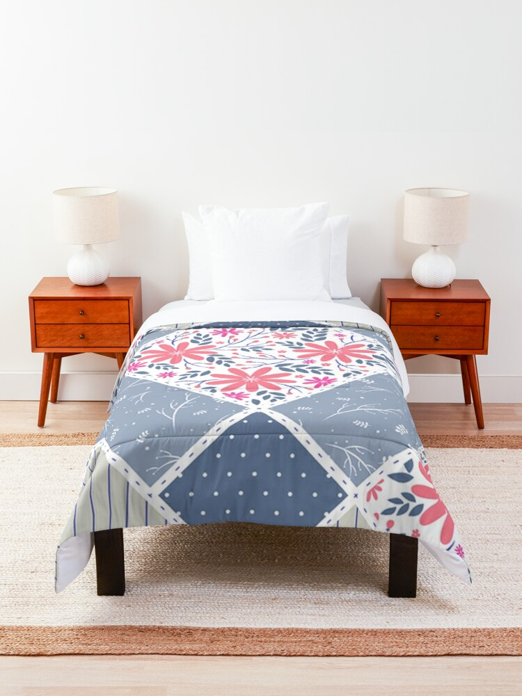 Alternate view of Vintage Distressed Patchwork Quilt Print Comforter