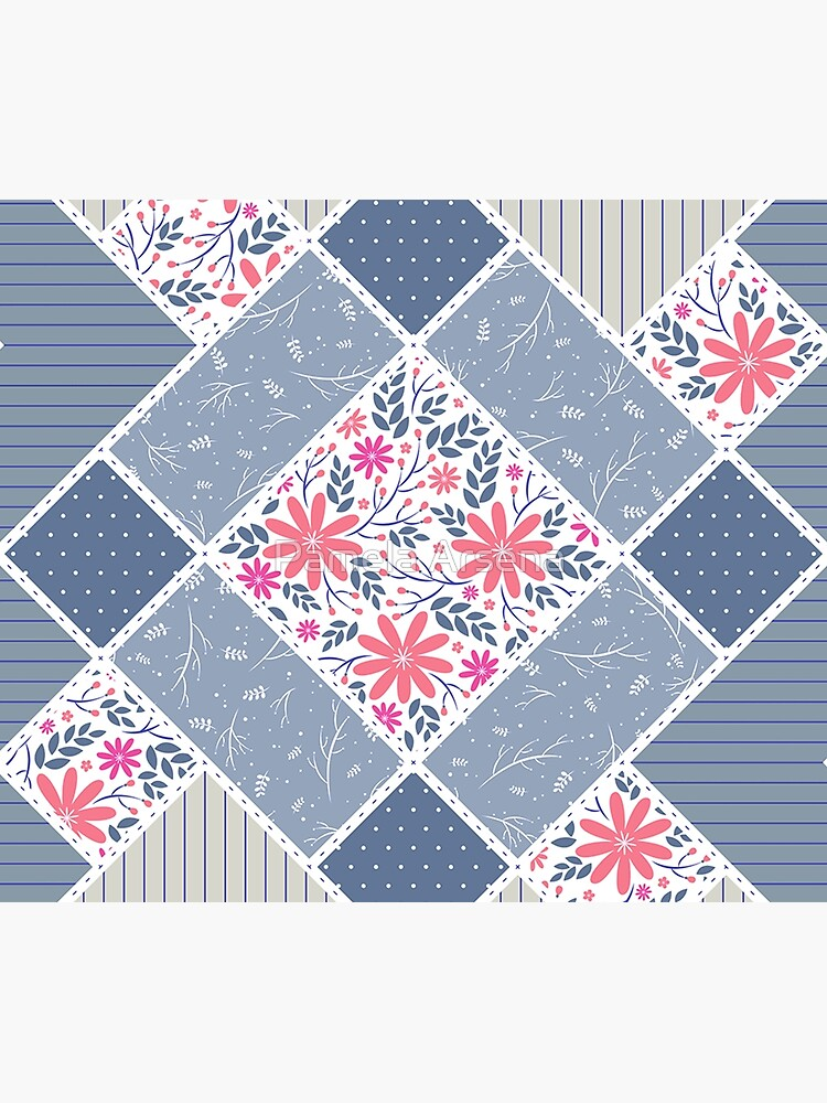 Vintage Distressed Patchwork Quilt Print by xpressio