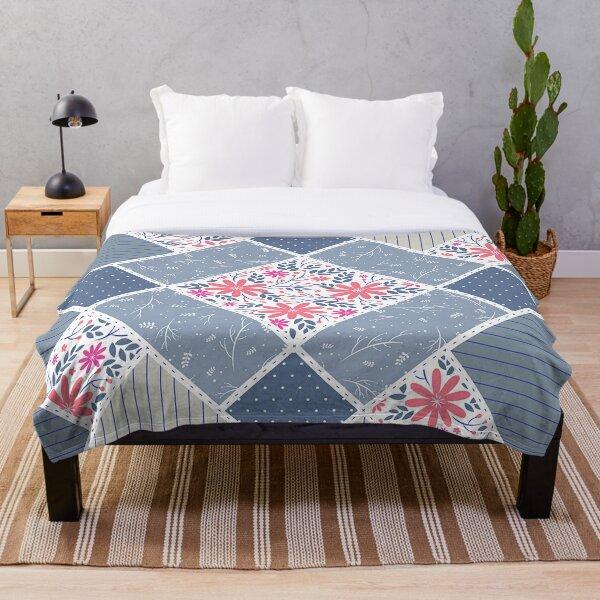 Vintage Distressed Patchwork Quilt Print Throw Blanket
