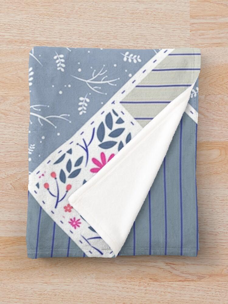 Alternate view of Vintage Distressed Patchwork Quilt Print Throw Blanket