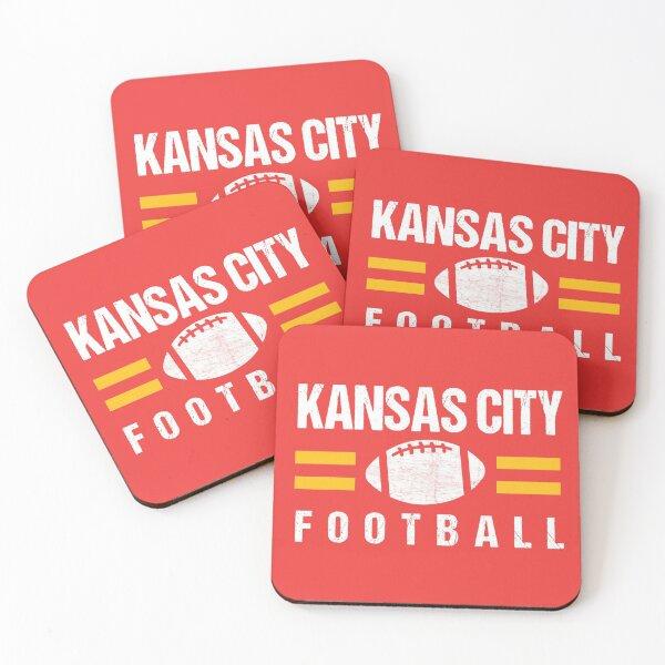 KC Kansas City Red Yellow Football Kingdom Kc 2020 Sports Fan Championship Classic Coasters (Set of 4)