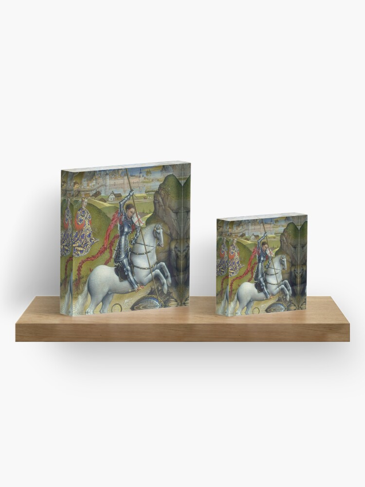 Alternate view of Saint George and the Dragon Oil Painting by Rogier van der Weyden Acrylic Block
