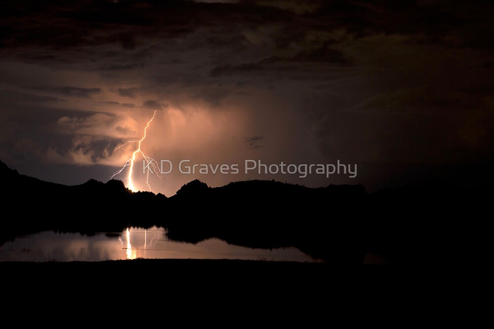Lightning Over Willow Lake by K D Graves Photography