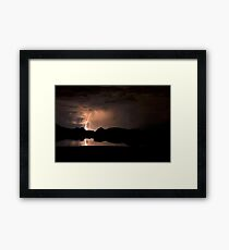 Lightning Over Willow Lake Framed Print