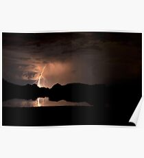 Lightning Over Willow Lake Poster