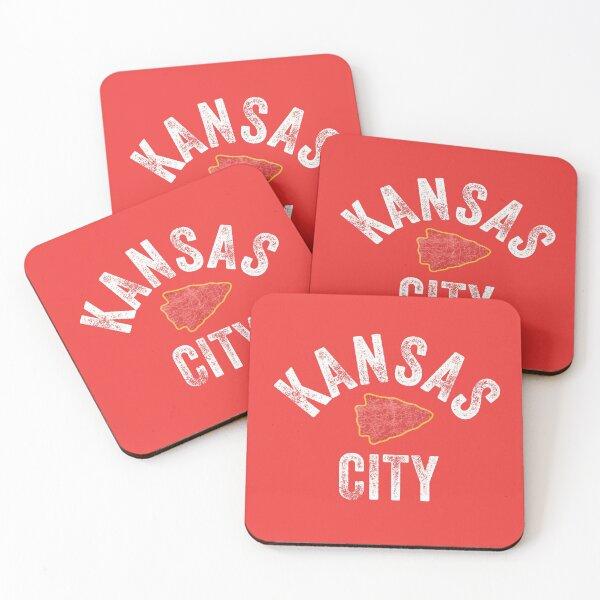 KC Football Tribal Kansas City football Vintage Red Arrowhead Kc Fan Kansas city Coasters (Set of 4)