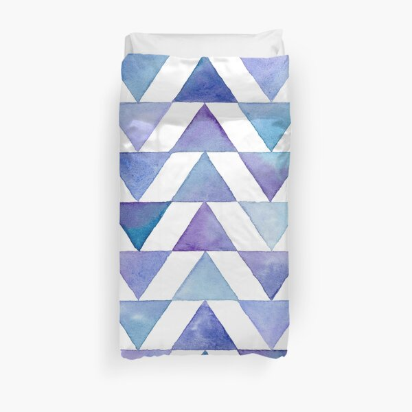 Violet Triangles Watercolour Pattern Duvet Cover