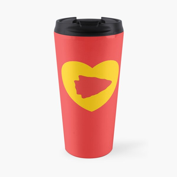 KC Face mask Kansas City facemask KC Kansas City Heart Red Yellow KC Kingdom Kc Hearts Love Letter Football Sports Fan 2020 Valentine Travel Mug