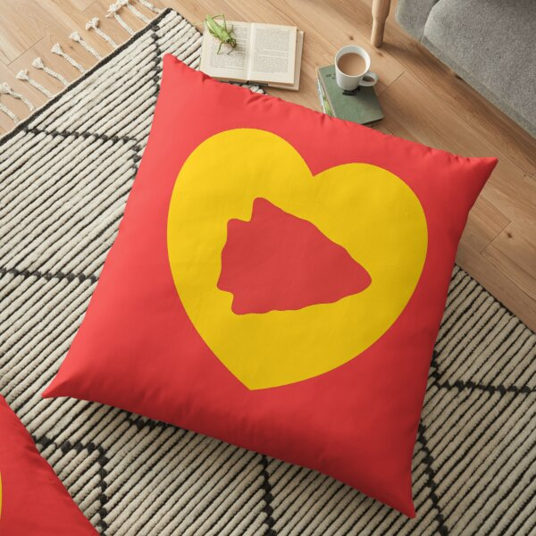 KC Face mask Kansas City facemask KC Kansas City Heart Red Yellow KC Kingdom Kc Hearts Love Letter Football Sports Fan 2020 Valentine Floor Pillow