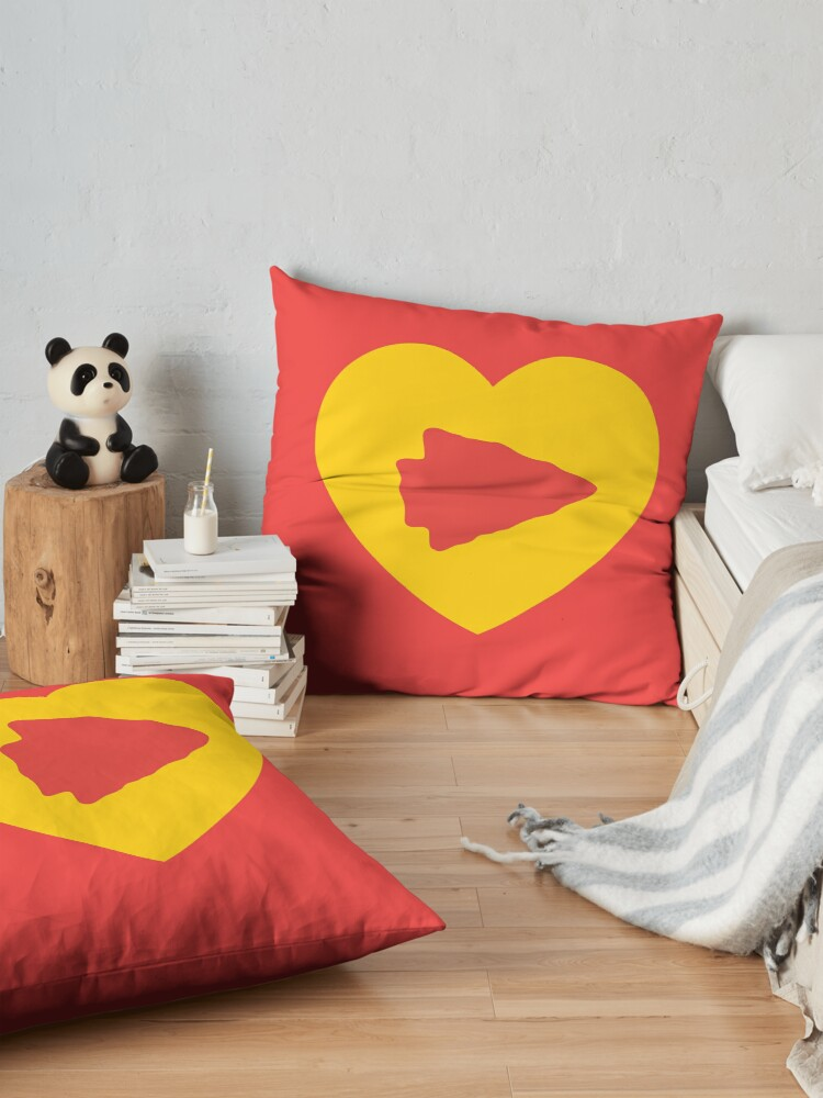 Alternate view of KC Face mask Kansas City facemask KC Kansas City Heart Red Yellow KC Kingdom Kc Hearts Love Letter Football Sports Fan 2020 Valentine Floor Pillow