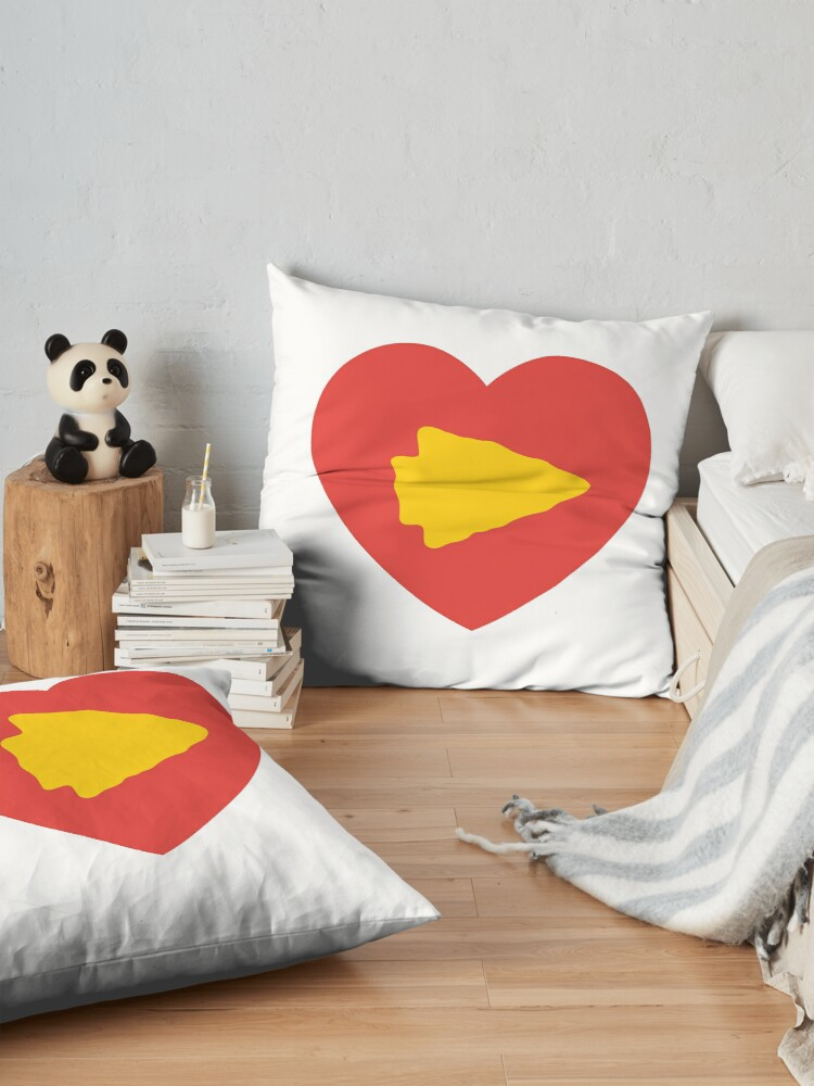 Alternate view of KC Face mask Kansas City facemask KC Kansas City Heart Red Yellow Kc Kingdom KC Hearts Love Letters Football Sports Fan 2020 Valentine Floor Pillow