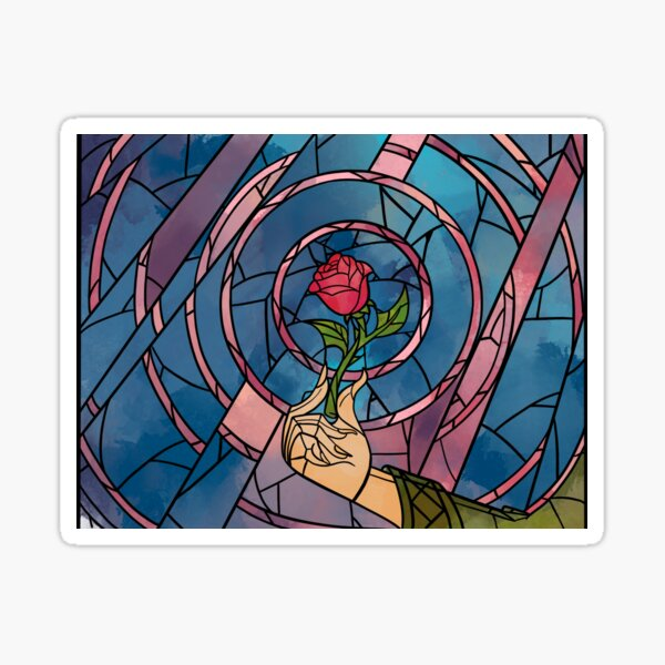 Enchanted Stained Glass Rose Sticker