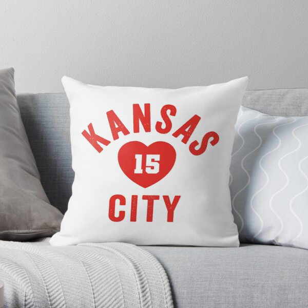 KC Face mask Kansas City facemask 15 KC Heart Kansas City Football 15 Red and KC Yellow KC Tailgating Champs 2020  Throw Pillow