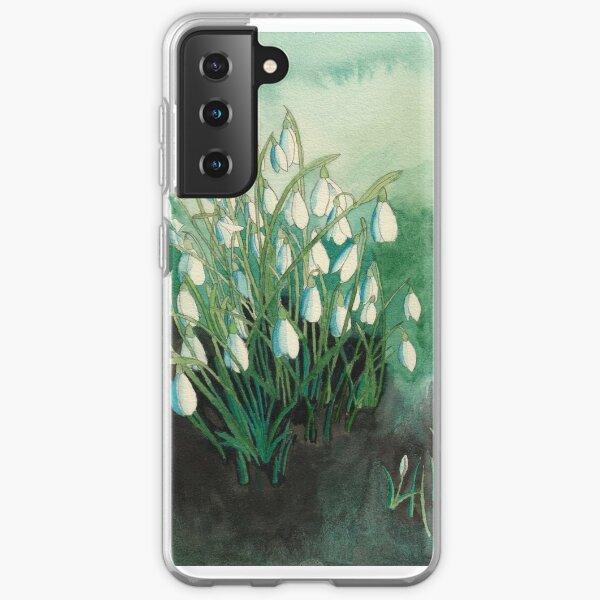white snowdrops original watercolour painting Samsung Galaxy Soft Case