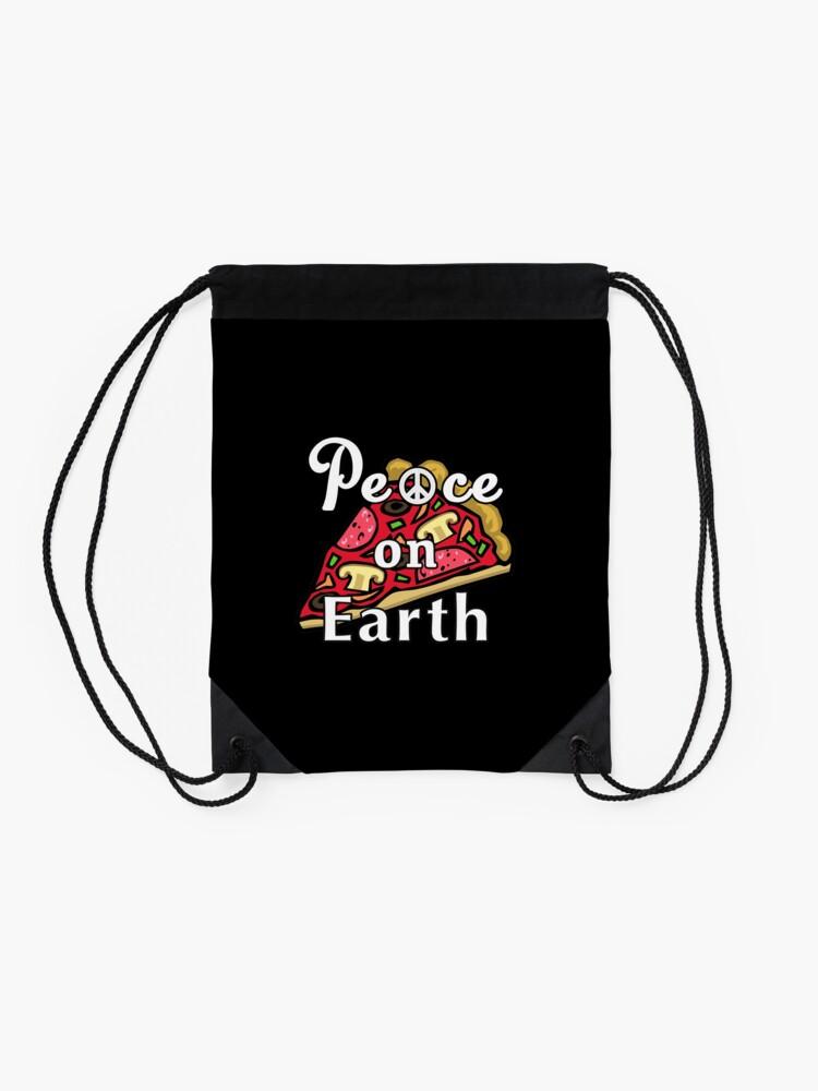 Alternate view of Peace on Earth, Mozzarella Pepperoni Pizzeria Pie. Drawstring Bag