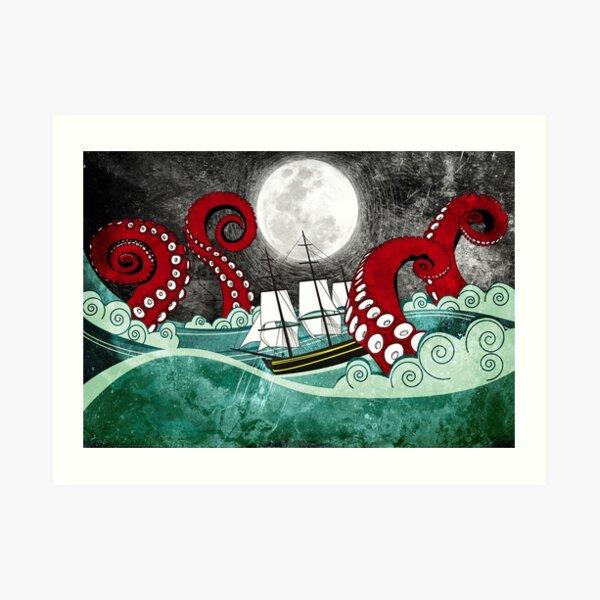 Kraken Attack Art Print