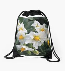 Blossoms White And Yellow Garden Blossoms Drawstring Bag