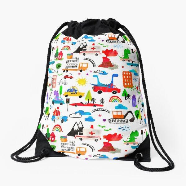 Dinosaur City Watercolor Transportation Pattern Drawstring Bag