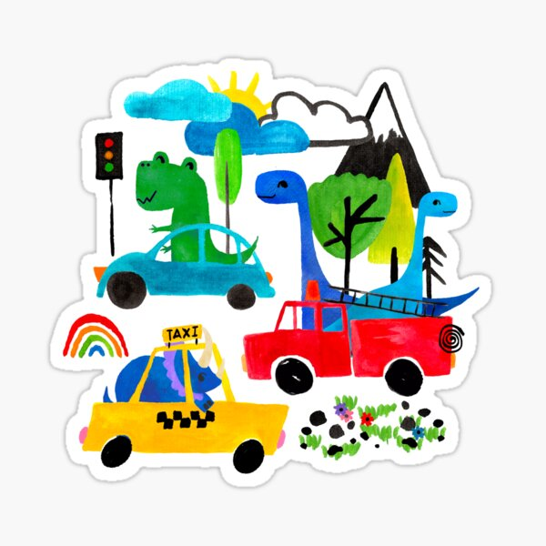 Dinosaur City Watercolor Transportation Pattern Sticker