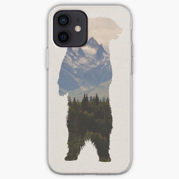 Bear with woodland scene iPhone Soft Case