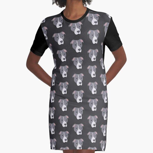 Blue Eyed Pitbull Graphic T-Shirt Dress