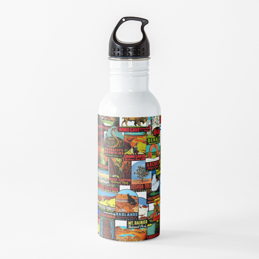 American National Parks Vintage Travel Decal Bomb Water Bottle