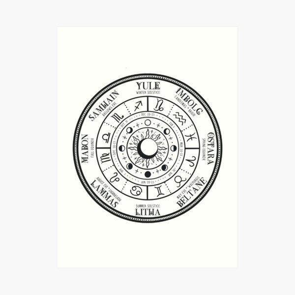 Wheel of the Year - Black Art Print