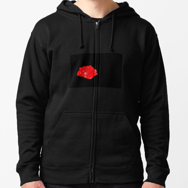 Red Glass Flower Zipped Hoodie