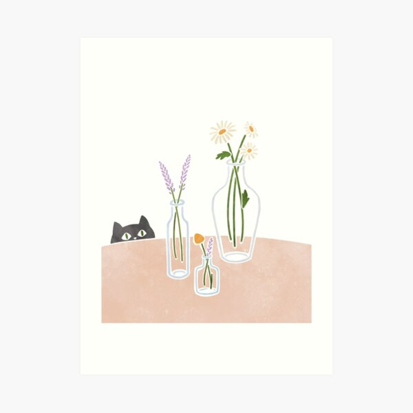 Flowers and a curious cat Art Print