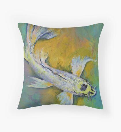 Kujaku Butterfly Koi Throw Pillow