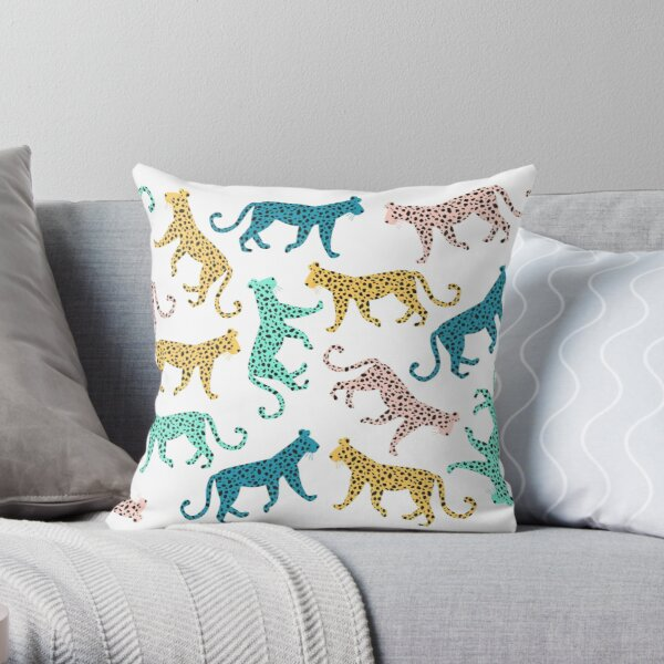 Rainbow Leopard, Leopards, Leopard print Throw Pillow